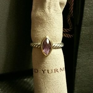 David Yurman Amethyst SS/18k Gold Cable Ring